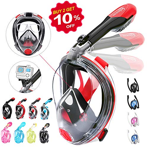 HENGBIRD Tauchmaske Version 3.0 Vollgesichtsmaske mit Gläserstütze Sportkamera Halterung Antibeschlag Schnorchelmaske Tauchermaske für Erwachsene und Kinder insbesondere Brilleträger (Rot M)