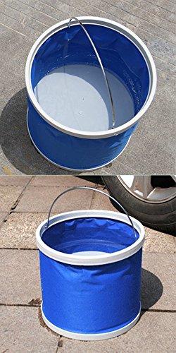 Cubo plegable Cubeta de agua portátil Multiuso - Apto para acampar, Deportes al aire libre, Uso doméstico, Cubo de agua para lavado de autos Capacidad de 11L - Ligero y fácil de transportar 8