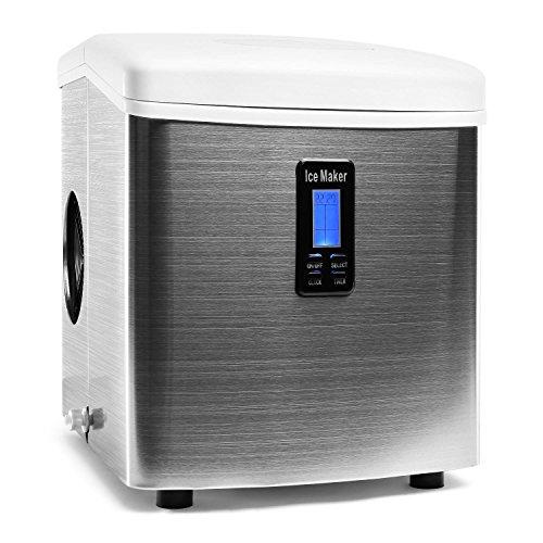 Klarstein Mr Frost Eiswürfelmaschine Eiswürfel-Bereiter Ice-Maker (3.3l Wassertank, geschmacksneutrale Innenverkleidung, 15kg Eiswürfel pro Tag, 3 Größen, LCD-Display) silber