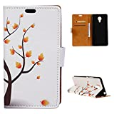 Acer Liquid Z6 Plus Hülle, PU Leder Handyhülle Portemonnaie Schutzhülle Anti-Kratzer Stoßfeste Brieftasche Hülle dünn PU Leather Gemaltes Muster Wallet Case mit Card Slots (Maple Tree)