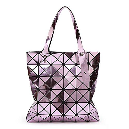 2017 Signora 6 * 6 Specchio Rombo Cucitura Sacchetto Di Spalla Piegatura Varietà Sacchetto Geometrico Cubo Borsa Purple