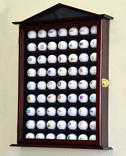 63Golf Ball Designer Display Fall Schrank Wall Rack Halter w/98% UV-Schutz Abschließbar, Cherry