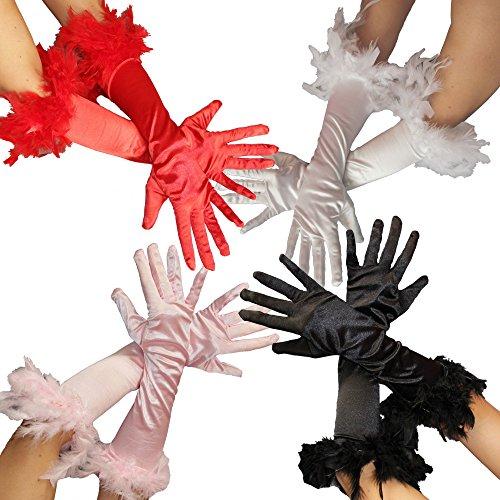 FO1030x | Federhandschuhe für Damen | in den Farben rosa, rot, schwarz und weiss | Damen Handschuhe Feder pink Handschuhe 20er Jahre Edel Federn Glamour Mafia Gangster, ()