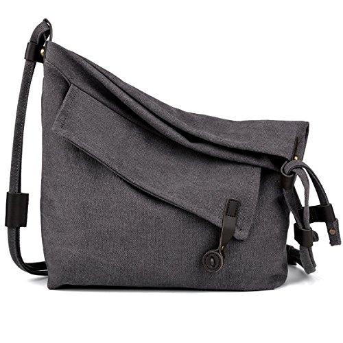 Canvas Tasche,Coofit Canvas Umhängetasche Crossbody Bag Tasche Damen Schultertasche Messenger Bag Handtasche Kuriertasche