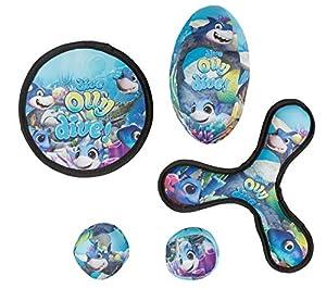 III 10053327 - Juguete de Lanzamiento con 2 Pelotas Blandas, Diana de Lanzamiento, Bumerang y Football, para niños a Partir de 3 años, diseño de Timmy, Abdomen, 5 Piezas, Color Azul