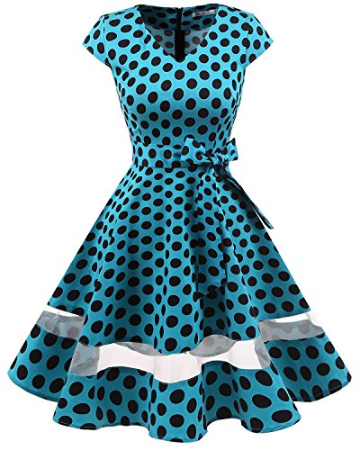 age 1950er Retro Rockabilly Cocktail Party Kleid Blue Black Dot S (Cosplay Kleid)
