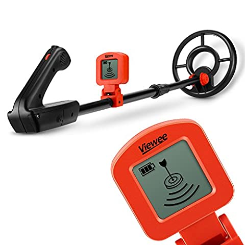 Viewee Lightweight Metal Detector with Waterproof Search Coil and LCD Display Suitable for Junior and Beginner with Shovel as Family