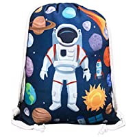 """HECKBO children gym bag with astronaut space motifs unisex   12.6"""" x 15.8""""   kindergarten, crib, travel, sports   suitable as gym bag, backpack, play bag, sports bag, shoe bag - for girls and boys"""