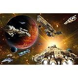 Poster Galaxy Adventure Wandbild Dekoration Raumfahrt-Mission space-shuttle science-fiction Raumschiff Weltraum All Stern | Wandposter Fotoposter Wanddeko Wandgestaltung by GREAT ART (140 x 100 cm)
