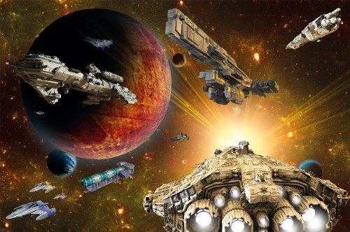 Fotomural Naves espaciales en el universo – Space Ships Galaxy – Decoración mural XXL habitación para niños - GREAT ART
