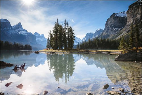 Posterlounge Alubild 180 x 120 cm: Spirit Island, Maligne Lake, Kanada von Matteo Colombo -