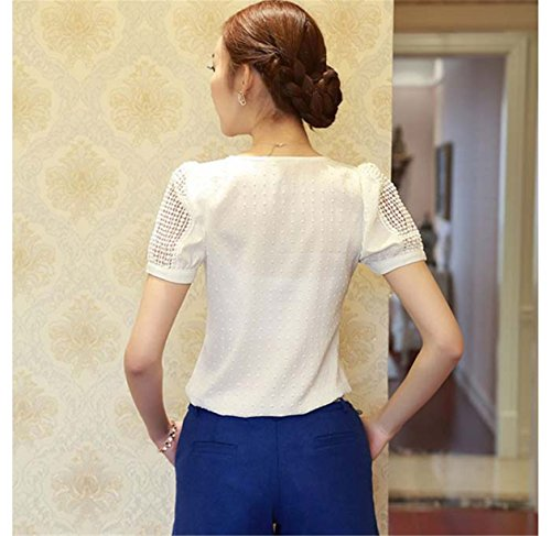 CYBERRY.M Femme Fille Manches Courtes Dentelle Blanc Chemise Blouse T-shirt Top Blanc