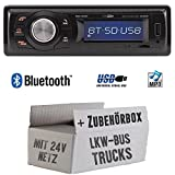 LKW Bus Truck 24V 24 Volt - Autoradio Radio Caliber RMD020BT - Bluetooth | MP3 | USB | Einbauzubehör - Einbauset