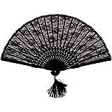 LEORX Eventail pliant pour femmes en soie Motif dentelle et fleurs Noir