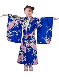 YL Niñas Chicas Tomar Fotos Artísticas Dibujo de Flores & Pavo Real Quimono Impreso Kimono Japonés Azul Zafiro