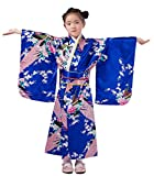 ACVIP Enfant Fille Kimono Japonais Peignoir Long Robe Déguisement Imprimé Fleur Paon Chic (recommandé le hauteur 110-120cm, Bleu Foncé)