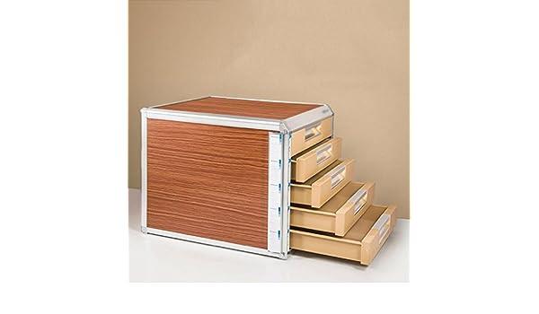 Wanli666 Cassettiera di stoccaggio in Lega di Alluminio Cassettiera da scrivania Organizzatore con Chiusura a Libro Organizer con Chiusura a Chiave Scatola per Ufficio Dimensioni: 315 * 350 * 298mm