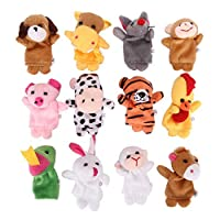 jianghang Desirable 12 pcs Family Finger Puppets Cloth Doll Baby Educational Hand Toy Story Kid Gift(None 12 packs of height 12.)