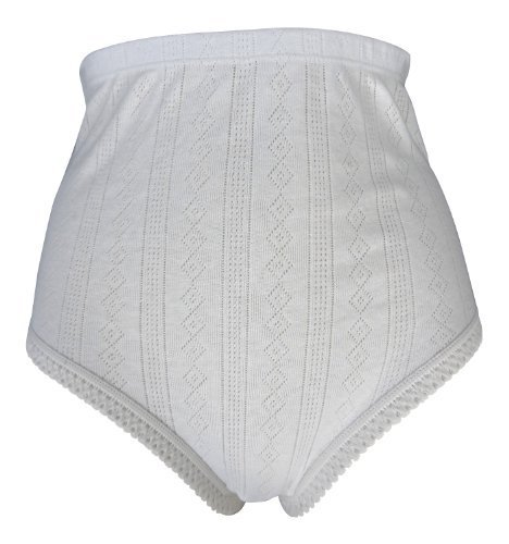 12 Pairs Tunnel Elastic 100% Cotton White Ladies Briefs Knickers - 8 Sizes
