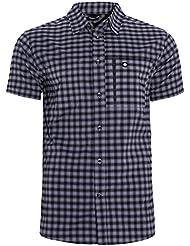 Ternua Echon Camisa, Hombre, Negro (Dark Grey Checks), L