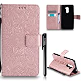 "Coque Huawei Honor 6X, Huawei Honor 6X Flip Coque, Btduck Etui Cuir PU Leather Housse [Étui en Imprinted sunflower] Anti Choc de Protection pas Transparente Wallet Coque Non Slip Souple Coque 360 Coque Pour Huawei Honor 6X(5.5"") + 1X Noir Stylet Touchscreen Pen - rose gold"