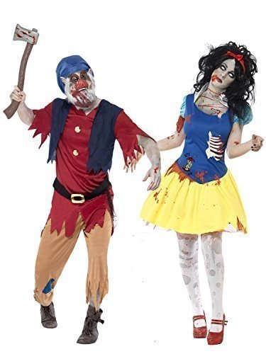 Herren Zombie Schneewittchen & Zwerg Halloween Kostüm Verkleidung Outfit - Mehrfarbig, Ladies UK 8-10 & Mens Medium (Top 10 Zombie Kostüme)