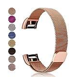 Mornex Cinturino Compatible Fitbit Charge 2 Cinturini, Acciaio Inox Inossidabile Band di Ricambio Milanese Loop con Chiusura Magnetica Braccialetto Fitness Tracker Accessori (5.5-8.1), Oro Rose