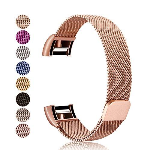 Für Fitbit Charge 2 Armband, Mornex Milanese Edelstahl Ersatz Klassisch Smart Watch Armbänder, stylishe Zubehörkollektion,Rose Gold
