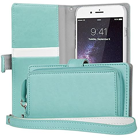 iPhone 6S Plus Case, TORU [iPhone 6S Plus Zipper Wallet Case] Card Slot Holder Magnetic Flip Cover with Zipper Pocket and Wrist Strap for iPhone 6S Plus / iPhone 6 Plus - Mint