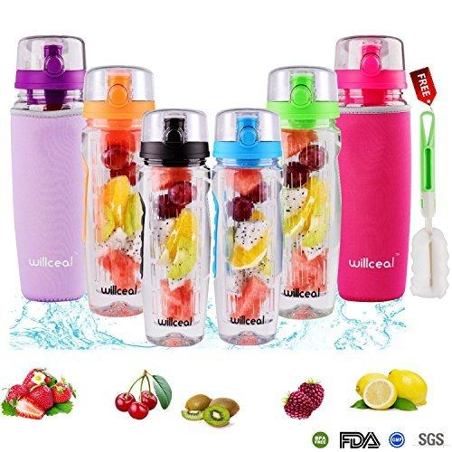 Fruit-Ei Wasser Flasche 900ml willceal- Langlebig, groß-BPA frei Tritan, Flip Deckel, Auslaufsicher Design-Sport, Camping, Orange -