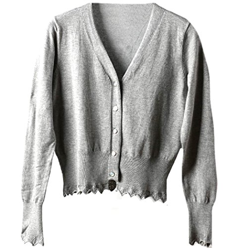 CuteRose Womens Long Sleeve Soft Cotton V Neck Large Size Knitwear Grey S (Cardigan Pullover Open Cable)