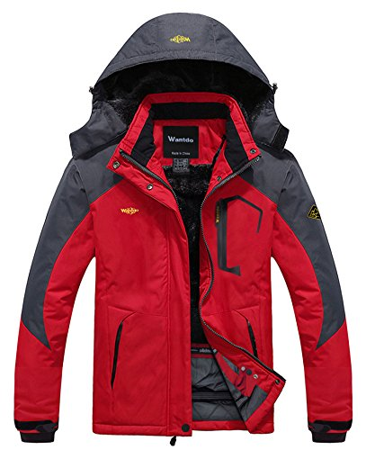 wantdo women's anorak waterproof mountain jacket fleece windproof ski jacket