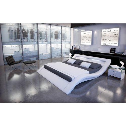 SalesFever Polster-Bett 160x200 cm weiß aus Kunstleder mit LED-Beleuchtung | Kool | Das Kunstleder-Bett ist EIN Designer-Bett | Doppel-Betten 160 cm x 200 cm in Kunstleder, Made in EU