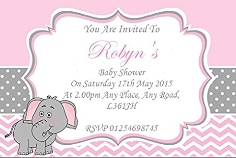 30 Personalised Baby Shower Invitations / Invites With Envelopes Pink grey elephant