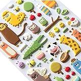 Kumkey 2X 3D Tiere Aufkleber Kinder Puffy Sticker Schaumstoff Aufkleber Fotoalbum Tagebuch Sticker Handy Aufkleber DIY Scrapbooking Zeitschriften Deko für Freunde und Klassenkameraden Geschenke