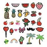 28 Stück Patches für Kleidung und andere Textilien, Stickerei Applikationen zum Nähen oder Aufbügeln, Früchte, Blüten und mehr