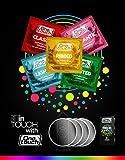 One Touch Kondome TREND MIX Extra Dünn - Erdbeer Kondome - Gerippt und Genoppt - Klassisch 10 Stück