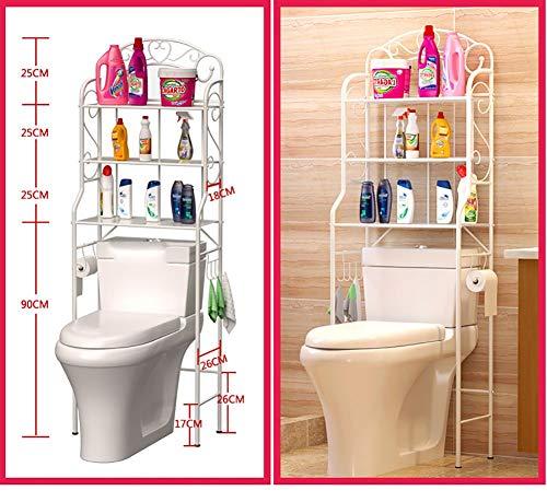 HTL Regal-Multifunktions-Badezimmerablage Geeignet für über WC-Waschmaschine Regale Paketregal Kleinigkeiten Lagerregal Bodentyp DREI Schichten mit Papierhalter,Schwarz