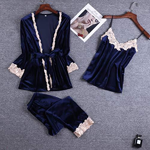 XMDNYE Or Velvet 3 Pièce Chaud d'hiver Pyjamas Ensembles Femmes Sexy Dentelle Robe Pyjamas Vêtements De Nuit Kit sans Manches Vêtements de Nuit