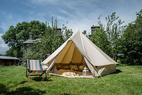 5m bell tent zipped in groundsheet end of season sale 100% cotton canvas large family bell tent for camping garden by life under canvas