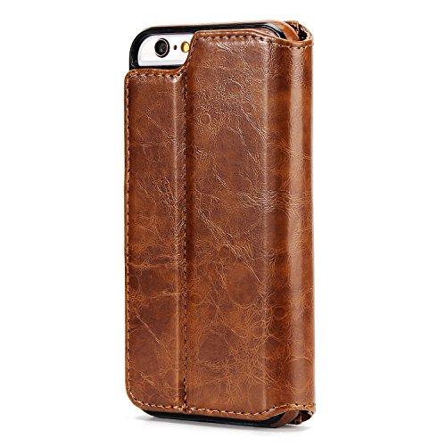 BCIT iPhone 6 Custodia - [Staccabile funzione] Portafoglio 2 in 1 PU di cuoio pelle con supporto carte di credito in Piedi caso Case per iPhone 6 - Blu Marrone