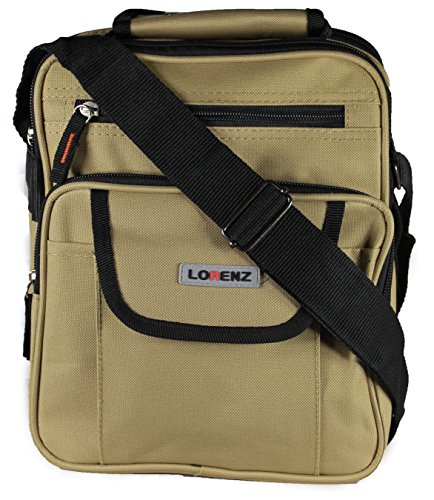 New Large Mens Ladies Handbag Bag Work Travel Cross Body Shoulder 4 Zips Bag (Beige)