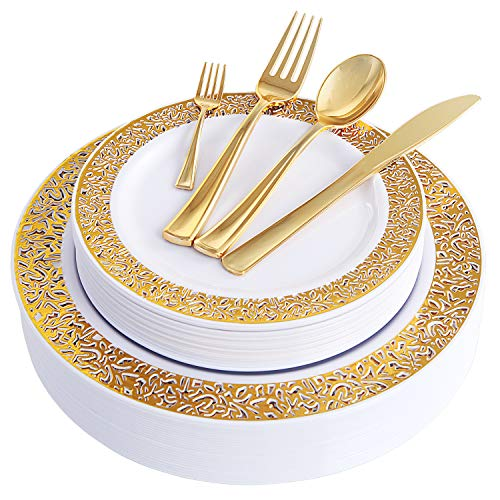 WDF 150 Stück goldene Kunststoffteller mit Einweg-Kunststoff-Besteck, schweres Platzset beinhaltet 25 Essteller, 25 Salatteller, 25 Gabeln, 25 Messer, 25 Löffel/Bonus 25 Mini-Gabeln 150 piece gold