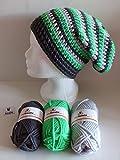 my boshi Häkelset Mütze, schwarz, silber, neongrün wie abgebildet m. 150g myboshi Wolle, Label und Lara's Creations Anleitung (Set 1: Wolle + Label)