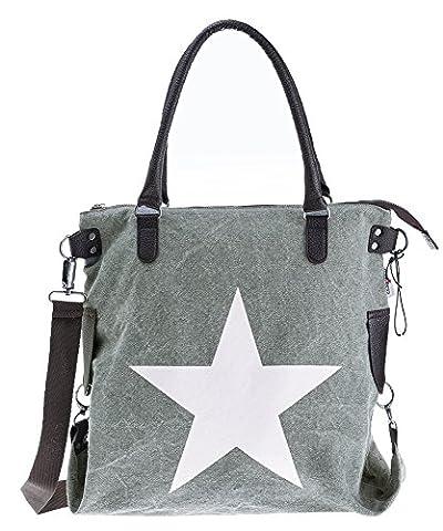 Bags4Less XL Canvas Damentasche Henkeltasche mit Leder Stern / Printstern / Velours-Leder F3151 (Washed-Grau)