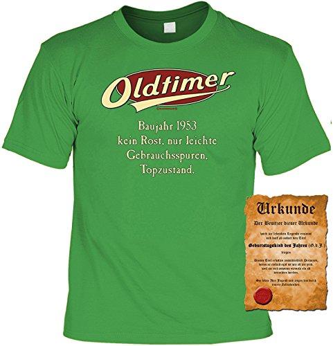 Witziges Geburtstags-Spaß-Shirt + gratis Fun-Urkunde: Oldtimer Baujahr 1953 Hell-Grün
