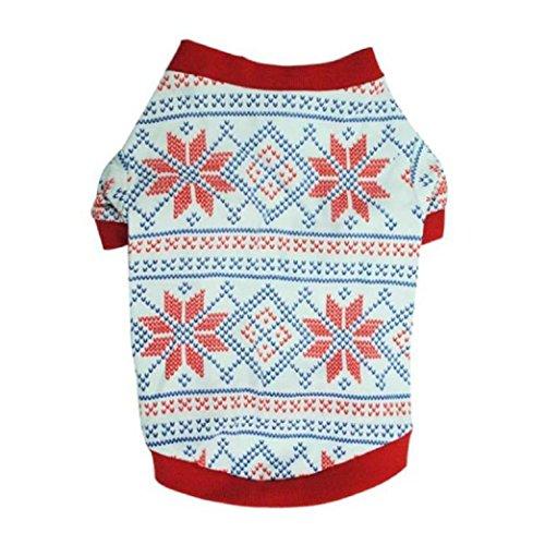 Animali domestici T-shirt - SODIAL(R)Cane Gatto Vestiti Fiocco di Neve Inverno Maglione Caldo Maglieria Per Cani Natale Puppy Coat Apparel (XS)