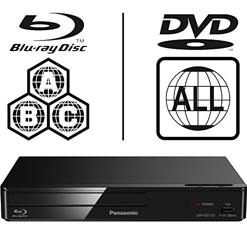ICOS Panasonic dmp-bdt167eb-k Smart 3D 4 K Upscaling Multi Region alle Code Zone Free Blu-ray Player. BLU-RAY Zonen A, B und C, DVD Regionen 1-8. YouTube, Netflix etc. HDMI Ausgang. HDD Wiedergabe (Player Alle Dvd Blu Region Ray)