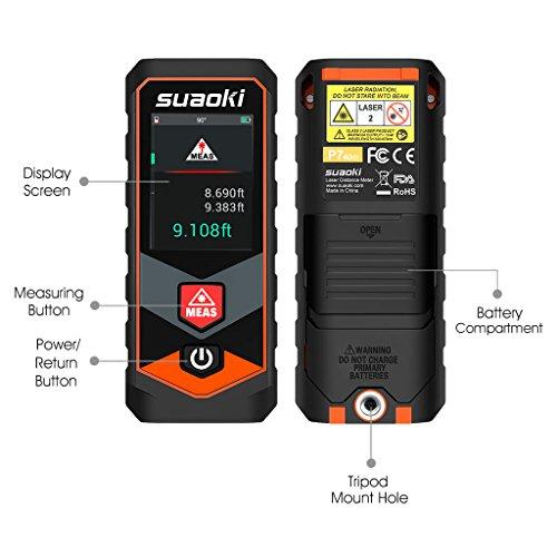 Suaoki P7 Telémetro láser Bluetooth Medidor Láser de Distancia con Pantalla Táctil para Cálculo de Volumen y Área (40m)