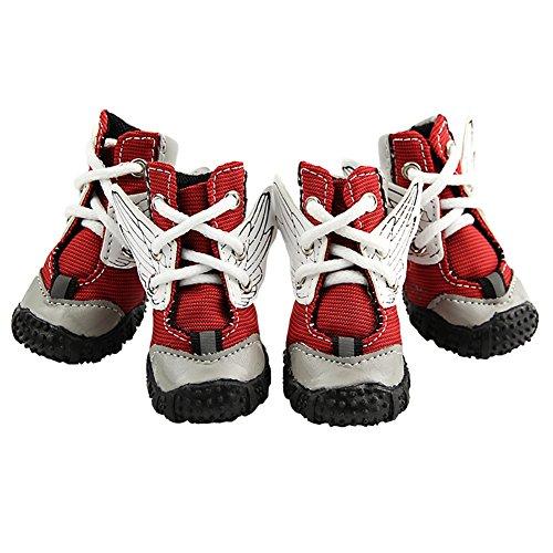 LongYu Haustier-beiläufige Schuhe, Rutschfeste Hundeschuhe Frühlings-Sommer-Modelle Schnür-haltbare Gummisohle 4 PCS Kleiner Hund Sport-Schuhe 3 Farbe u. 5 Größe (Color : Red, Size : 2#)
